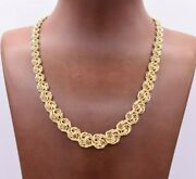 Graduated Rosetta Rose Knot Shiny Chain Necklace Real 10k Yellow Gold 16.5