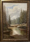 Signed J.h. Thomas Mountain Landscape Oil Painting On Canvas - No. 1935