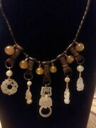 Chinese Jade Necklace W/peking Glass/carnelian Beads Devils Work H/c Pendents.