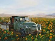 Virgia West Granddaddyand039s Ole Green Truck Original Oil Painting On Canvas18x24