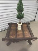 Antique Indian Rustic Wooden Ox Cart With Metal Accents Made Into A Coffee