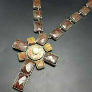 Big Federico Jimenez Sterling Silver Faceted Goldstone And Agate Cross Necklace