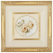 Franz A. Bischoff Listed Hand Painted Yellow Roses Plate 8.5 Dia Framed 20x 20