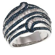 Hsn 1.4ctw Blue And White Diamond Baguette Sterling Silver Ring Size 7 1199