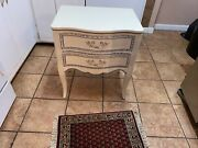 Drexel French Painted Nightstand/ End Table With Blue Highlights Very Nice