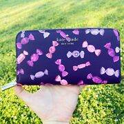 Kate Spade Candy Shop Staci Large Continental Zip Wallet Purple Pink Multi