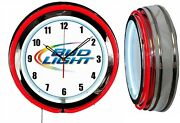 Bud Light Beer Colored Logo 19 Double Neon Clock Red Neon Man Cave Bar Numbers