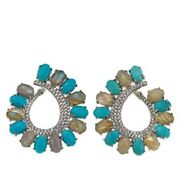 Hsn Colleen Lopez Labradorite Turquoise And White Topaz Earrings 460
