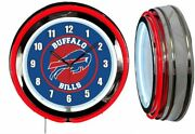Buffalo Bills 19 Red Neon Clock Man Cave Game Room Football White Numbers