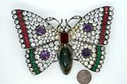Huge Heavy Antique German Silver And Gemstone Paste Butterfly Brooch C1930