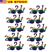 12 Pairs Of 2021 New Years Eve Party Glasses With Lens Rainbow Color Party