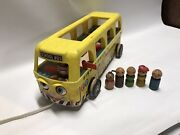 Vintage Fisher Price Little People Play Family School Bus Wooden 990