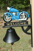 Vintage Look Motorcycle Gift Welcome Bell Ringer, 13 Cast Iron H-139
