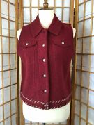 Woolrich Women's Claret Wool Holiday Vtg Christmas Red Vest Sweater S