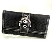 Authentic Coach Wallet Black Canvas Tri-fold With Checkbook Cover