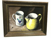 Vintage Mid Century Oil On Canvas Of Vessels And Bottles By Artist Ben Rosenkrans