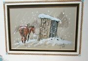 William T Zivic Horse And Outhouse Original Watercolor Landscape Painting