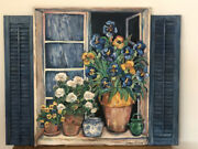 French European Art Trompe Land039oeil Still Life Pantings With Custom Wood Shutters