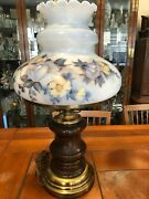 Vintage Gwtw Table Lamp Floral Handpainted Large Glass Shade Wooden Base 28 T