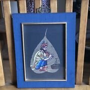 Authentic Peepal Leaf Hand Painted Indian Snake Charmer Man Fong Silk Frame