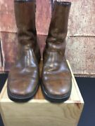 Vintage Hush Puppies Brown Leather Side Zipper Boots Size 6.5 M