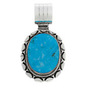Hsn Chaco Canyon Oval Kingman Turquoise Framed Sterling Silver Pendant 479
