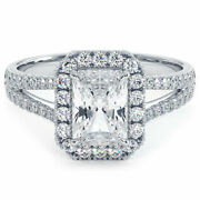1.50ctw Radiant Cut French Cut Halo Split Shank Lab Grown And Natural Diamond E...