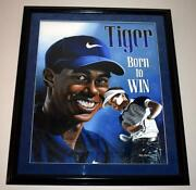 Tiger Woods Born To Win Martin Woods Original Art Matted And Framed Painting
