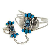 Hsn Chaco Canyon Turquoise And Swiss Blue Topaz Princess Cuff And Ring Size 8 869