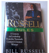 Bill Russell Russell Rules Hard Cover Book Auto Signed Mark 11 Rules Leadership
