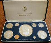 """V. Rare Panama 1975 """"proof Set"""" 5.694 Ounce Silver 03 Large High Value 09 Coins"""