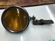 Amber Yankee Fog Light Early Glass Lens Vintage Auto Parts Lamp W Bracket Old