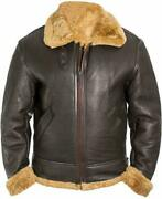 Raf Aviator B3 Bomber Pilot Flying Faux Shearling Real Leather Jacket