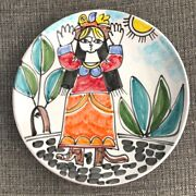 1965 Disimone Italy Mcm Painted Platter - Woman W/bird And Sun - Perfect- Picasso