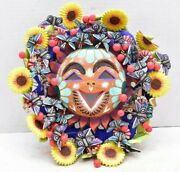 Mexican Folk Art Pottery Painted Sun God Mask Tree Of Life Flowers Butterflys