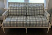 Ethan Allen French Country Fairfax Loveseat + Extras Cream Blue Louis Love Seat
