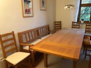Dining Room Set Table, Bench, Chairs, Commode And Buffet - Made Of Oak Wood