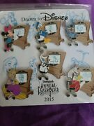 Drawn To Disney Annual Pass Holder Exclusive 2015 Pin Set Stitch Olaf Rapunzel