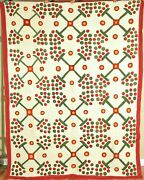 Outstanding Vintage Red Green And Cheddar Applique Quilt Unusual Berry Design
