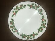 Rare, Luncheon Plates Royal Grafton, Noel With Smooth Holly Back Stamp 9 3/4