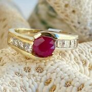 Retro Style 2 Tone 14k Solid Gold Burmese Ruby Ring 0.78ct Ruby And App. 1/2ct Dia