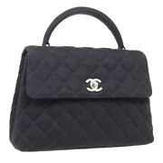 Quilted Small Hand Bag Top Handle Purse Black Cotton 4520042 34108