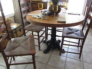 Antique Round Butcher Block Dining Table – Cast Iron Base. 4 Ladder Back Chairs