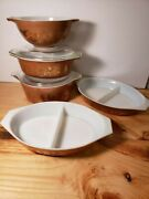 Vtg Pyrex Early American Dish 043442475brown Gold 2 Divided Casseroles 2 Lids