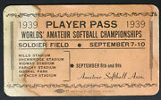 1939 Soldier Field Worlds Amateur Softball Championship Player Pass Chicago Rare
