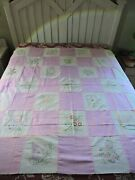 Vintage Embroidered Quilt Top Or Cutter Quilt