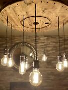 Large Rustic Cable Reel Drum Light Stunning Ceiling Edison Reclaimed Wood Beam