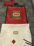 New With Tag 100 Authentic Logo Drawstring Red Leather Backpack Bag Large