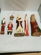 Santa Claus Figurines Wooden Hand Carved Lot Of 6.