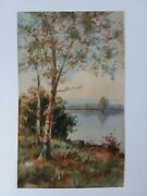 Signed Original Watercolor A Albert Matthews Sycamore Tree And Pond 5 X 8 1/4
